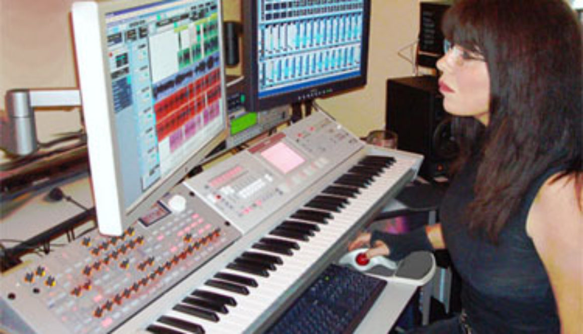 Lia working on an Alien Tribe song