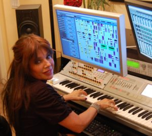 Lia Shapiro of AlLiEn TriBe at her Indio, CA music studio